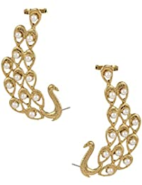 The Jewelbox American Diamond Antique Peacock Ear Cuff Pair Earring