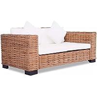 Festnight Set Sofa Divano in Rattan Naturale da esterno e giardino