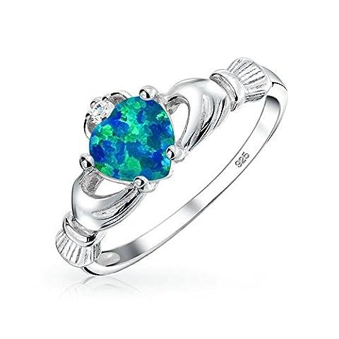 Brink Celtic Valentine Opale bleu synthétique Anneau de Claddagh en argent Sterling 925