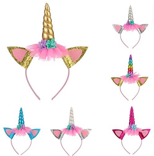 Girl Cute Katze Kostüm - 6PCS Einhorn Stirnband Blume Stirnband für Mädchen Erwachsene Cosplay Kostüm Halloween Geburtstag Party Weihnachtsfeier