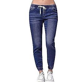 JiaMeng Jeans di Grandi Dimensioni con Elastico e Denim in Denim Casual con Nove Punti Jeans Autunno Donna Elasticizzati Plus Loose Denim Casual Plus Jeans Tagliati S-XXXXXL