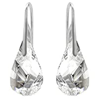 Sterling Silver 925 Princess Style Drop Pear Shaped Fish Hook Clear Pierced Earrings with Swarovski Crystals