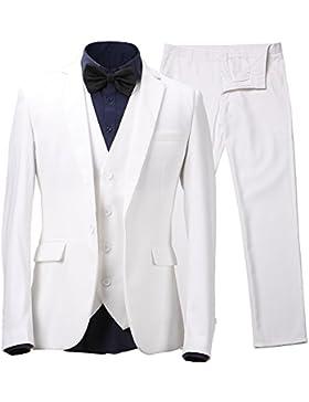 Herren Anzug Slim Fit 3 Teilig mit Weste Sakko Anzughose Business Smoking von Harrms,10 Farben, Größe 46-56