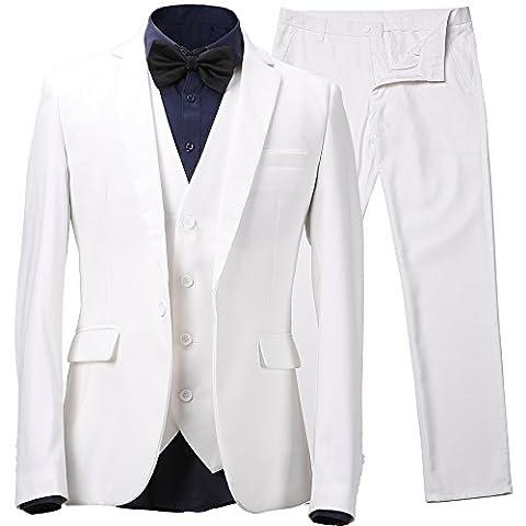 Harrms Men's 3-Piece Suit One Button Slim Fit Blazer Jackets