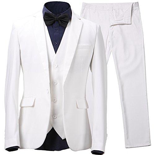 Herren Anzug Slim Fit 3 Teilig mit Weste Sakko Anzughose Business Smoking von Harrms,Weiß,EU 48/Hose 32 (Weiss Anzug Herren)