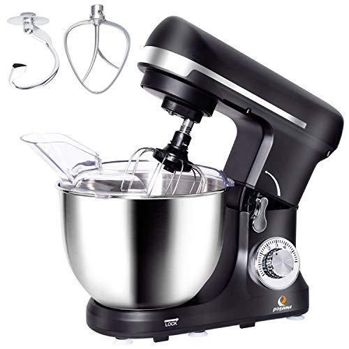 Küchenmaschine (1000W, 5L, 6 Geschwindigkeit), POSAME Knetmaschine Multifunktional Teigknetmaschine mit Edelstahl Rührschüssel, Spritzschutz, Schneebesen, Teighaken und Knethaken in schwarz