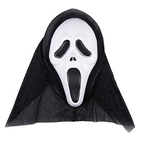 Tinksky Halloween Ghost Mask Scream Costume Party Mask Creepy Scary Ghosts Masques pour les nuit d'horreur d'Halloween 1 PCS (Screaming Image)