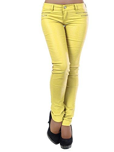L521 Damen Jeans Hose Hüfthose Damenjeans Hüftjeans Röhrenjeans Leder-Optik, Farben:Gelb;Größen:34 (XS) (Hose Cord Low Rise Stretch)