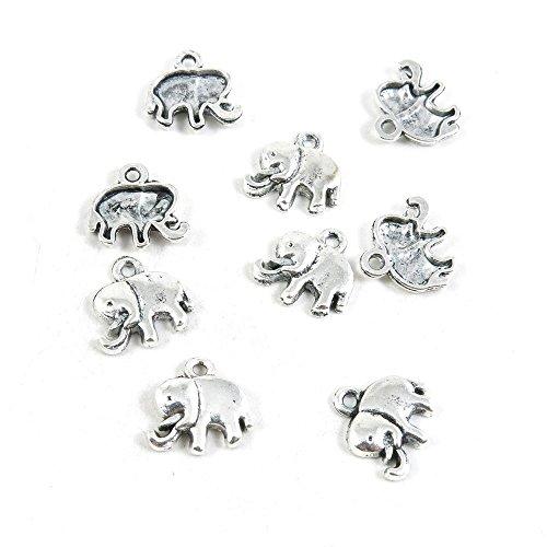 Abalorio de plata envejecida X7SN3G para manualidades con elefantes antique silver