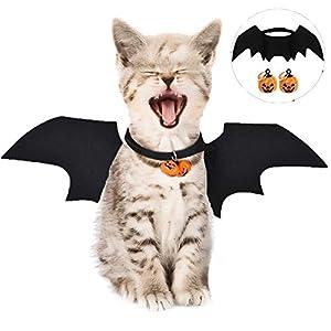 LIZHIGE Costume de Chauve-Souris, Costume pour Chat,Collier pour Chat,Costumes Halloween Chien Chat Vêtements Cosplay Bat,Chat de Chien Halloween Habiller + Citrouille Halloween Cloche