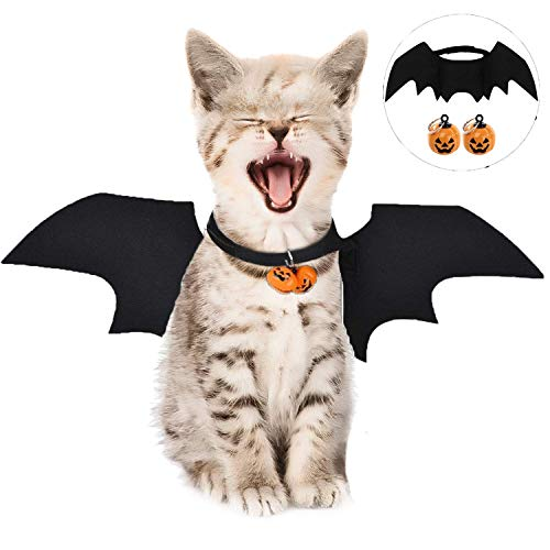 YIKEF Halloween Pet Dog Costume Vampiro Ali Costume, Halloween Cat Ali di Pipistrello Pet Dog Bat Costume Pet Abbigliamento per Piccoli Cani Gatti con 2PCS Zucca Bells