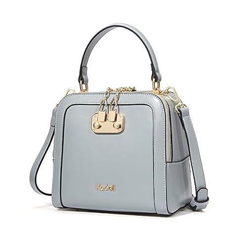 Kadell Frauen Leder Handtaschen Shell Form Top Griff Geldbörse mit abnehmbarem Armband Grau blau