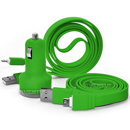 Aventus LG Magna Verde Doppia Porta USB Mini Caricatore Accendisigari Per Auto, Compreso 1 Micro USB Di Trasferimento Dati / Cavo Di Ricarica