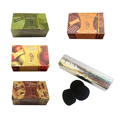 Pack 4 Hierba para cachimba shisha de sabores variados + pastillas carbon cachimba
