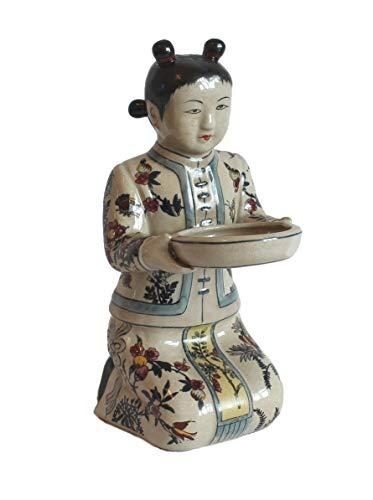 AAF Nommel®, Chinesische Figur 05 aus Beiger Keramik mit phantasievollen traditionellen Mustern -