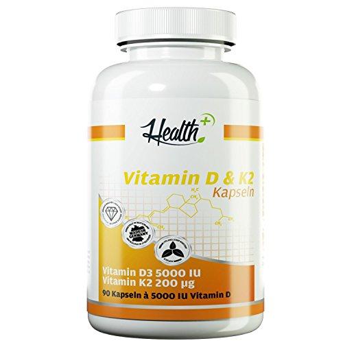 HEALTH+ VITAMIN D3 & K2, 90 Kapseln je 5000 IE Vitamin D3 und 200 mcg Vitamin K2, hochdosiertes Vitamin D für starken Knochenbau und Zähne, Nahrungsergänzungsmittel Made in Germany
