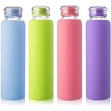 senderismo MIU COLOR/ yoga /Botella de agua de cristal de 790/ml Botella con funda de silicona sin BPA Botella de cristal para la oficina negro deporte
