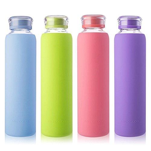 MIU COLOR Botellas de Agua de Cristal para Smoothies, jugos de Frutas, Leche y Bebidas, Libre de BPA (Rosa, 480 ML)
