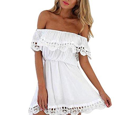 LSAltd Damen spitze Off Shoulder Kleid beiläufiges Partei Mini kleid Sommer (Weiß, (Kleid Weihnachten Weißes Kostüm)