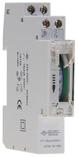 Timer analogico da incasso per quadro di distribuzione, 24 ore, 15 min, 230 V, max.3500 W, da incasso per quadro elettrico