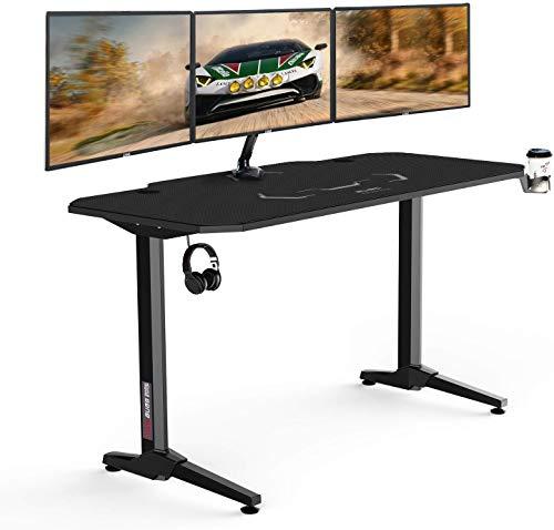 AuAg 55 Zoll Racing Style Gaming Schreibtisch Computer Schreibtisch Workstation T-förmig Büro PC Computer Robuster Tisch mit Mausunterlage, Getränkehalter und Kopfhörerhaken