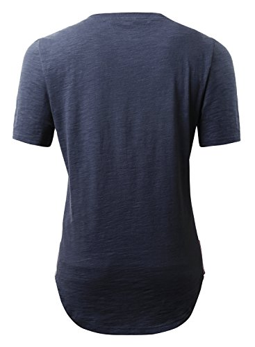 HEMOON Herren O-Neck T-Shirt Shaped Raglan Slim Rundhals Dunkelblau
