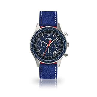 DETOMASO Firenze Reloj Caballero Cronógrafo Analógico Cuarzo Azul Correa de Cuero Azul Esfera Azul SL1624C-BL-808