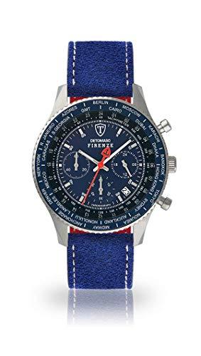 DETOMASO Firenze Herren-Armbanduhr Chronograph Analog Quarz silbernes Edelstahlgehäuse Blaues Zifferblatt - Jetzt mit 5 Jahre Herstellergarantie (Leder - Blau (Naht: Weiß))
