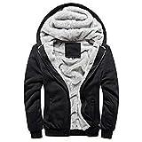 Minetom Herren Winter Warm Vlies Gefüttert Kapuzenpullover Baumwolle Mäntel Weich Jacken Sweatshirts Mit Kapuze Outwear (EU XL, Schwarz)