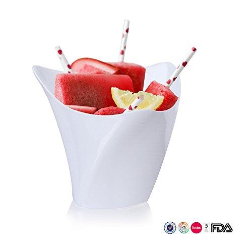 Ahippob Mini Dessert Becher, 25PCs/Set Dessert Becher Mini Cubes klar Tasting/4oz Probe Glas Container eleganten quadratischen Kunststoff Schalen Einweg weiß (Elegante Martini-gläser)