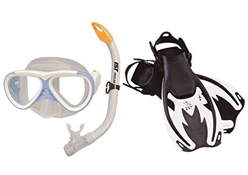 IST Proline M-59 Kinder Taucherbrille (4Set Weiß Maske+Schnorchel+Flossen+Tasche)