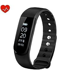 OMorc Bracelet Connecté Sport Cardiofréquencemètre Smart Band Bluetooth 4.0 Etanche Tracker d'activité Podomètre avec Contrôle de la Musique, Alarme, Step, Calories, Sommeil pour iPhone Android Smart Phone