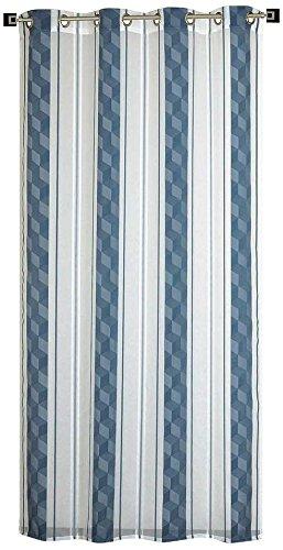 Homemaison tenda jacquard a righe verticali, poliestere, indaco, 240x 140cm