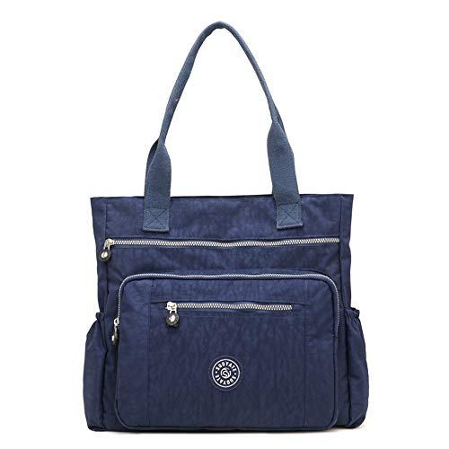 ZIIPOR Damen Multi Pocket Große Nylon Handtasche Schultertasche Big Shopping Bag Tote, Blau (blau), Large -