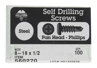 The Hillman Group 560270 8-18-Inch x 1/2-Inch Pan Head Phillips Self Drilling Screw, by The Hillman Group - 0.5 Pan Head Screw