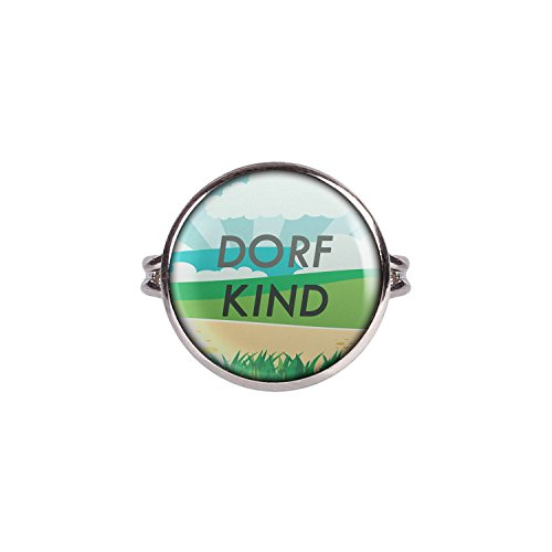 Mylery Ring mit Motiv Dorf-Kind Land Heimat Nr.4 silber 16mm
