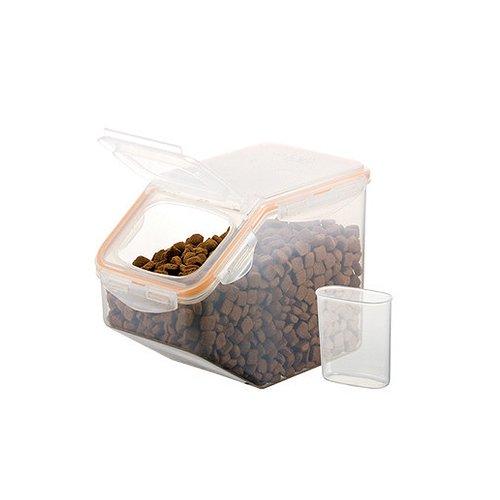 Futterbox, Klappdeckelbox, Waschmittelbox, Futteraufbewahrung, mit separater Schütte, Inhalt 5 Liter