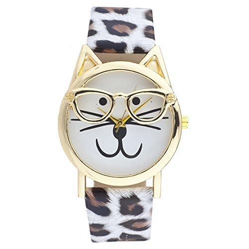 LUX Zubehör Gold Ton Leopard Print Band Kitty Katze Brille Gesicht Armbanduhr (Zubehör Big Tote Canvas)