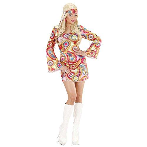 Flower Power Kostüm Hippie Kleid S 34/36 70er Jahre Outfit Buntes Tunikakleid Flowerpower Hippiekostüm Faschingskostüm Hippiekleid Karnevalskostüm Damen (Kostüme Ära 70er Jahre)