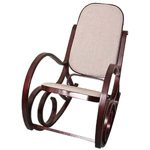 Sedia a dondolo m41 legno 90x50x90cm noce seduta tessuto for Sedia a dondolo amazon