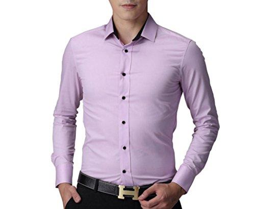 Herren Bügelfrei Langarm Hemden Business Herrenhemd Freizeithemd Slim Fit Einfarbig Rosa
