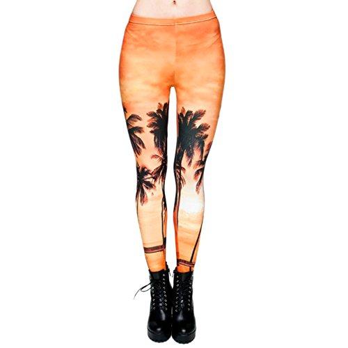 Heiße Frauen Hosen Punk Dehnbar Leggins Sonnenuntergang Fitness Farbige Hose