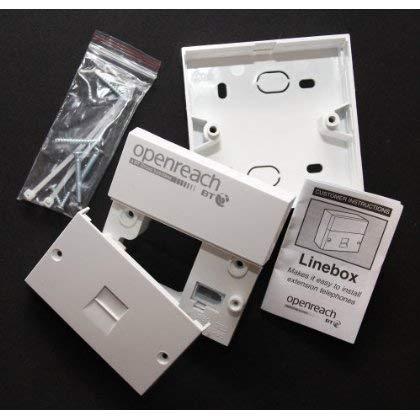 2 BT XGENUINE OpenReach NTE5a N.T.E./ 5 A Master Socket Linebox globeteck/2011/2012 IDC - conexión versión 1036885/de la placa frontal 1036886, punto de demarcación entre Red proporciona claras y cableado del cliente, utilizado en el Reino Unido por parte de BT es el método preferido de terminación en líneas de cobre solo par la premisa del cliente. Se puede utilizar para sustituir la al puerto BT o placa. Con caja de y juego de tornillos. Compatible con ADSL/ADSL/vDSL BT Infinity servicio específico placas frontales (SSFPs)