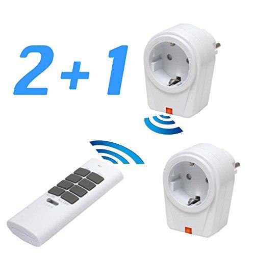 solidBASIC - Funk Schalter Steckdosen Set : 2 x Funksteckdosen + 1 x Fernbedienung | 4-Kanal Plug & Play Funkschalt-Set - WEIß