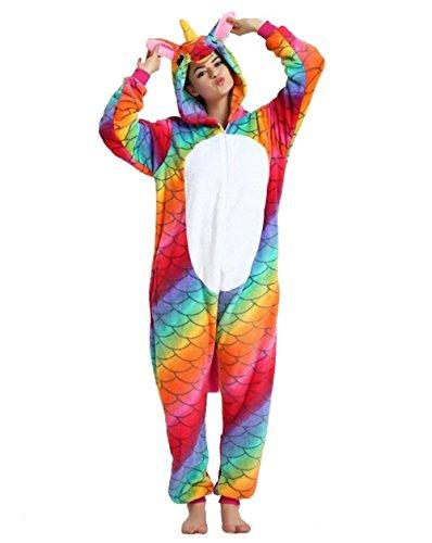 Kenmont Licorne Pyjama Deguisement Combinaison Animal Pijama Adulte Enfant Unisexe Cosplay Costume Kigurumi Halloween (M, Mermaid)