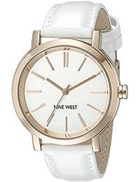 Nine West para mujer reloj infantil de cuarzo con esfera analógica blanca y correa de piel color blanco NW/1706wtrg