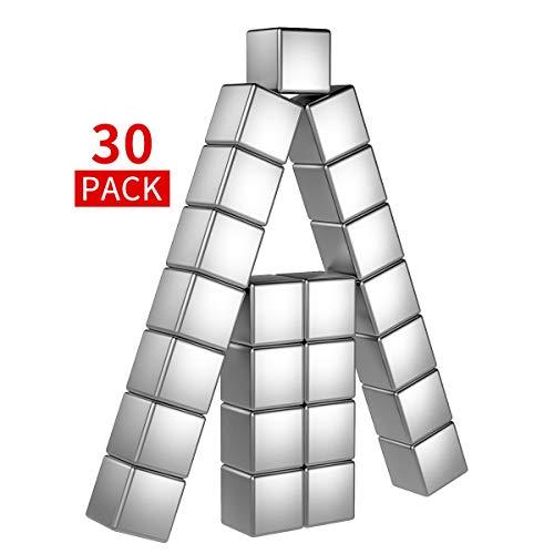 Temporaryt Neodym Magnete Würfel 30 Stück, 8mm Ultra Stark Magnets Premium Qualität - Mini Magneten für Kühlschrank Whiteboard Pinnwand inkl. Aufbewahrungs Box (8x8x8mm) - Mini-kühlschrank Transparent