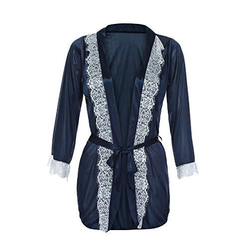 Damen Sexy Silk Kimono Babydoll Dessous Nachtwäsche Body Bademantel Set