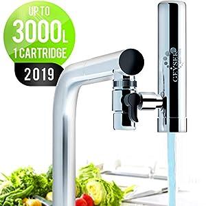 GEYSER EURO Wasserfilter für Wasserhahn Küche Armatur, Wasserfilter für Leitungswasser mit Karutschen aus einzigartigem Material Aragon, hocheffizientes Wasser-Filtersystem.