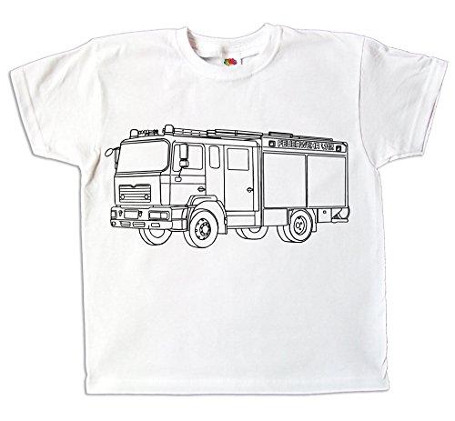 Kinder T-Shirt Feuerwehr Feuerwehrauto zum bemalen und ausmalen mit Vordruck Kindergeburtstag Kindergarten für Jungen und Mädchen (98)